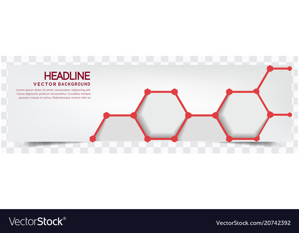 Modern red honeycomb white background headline vec