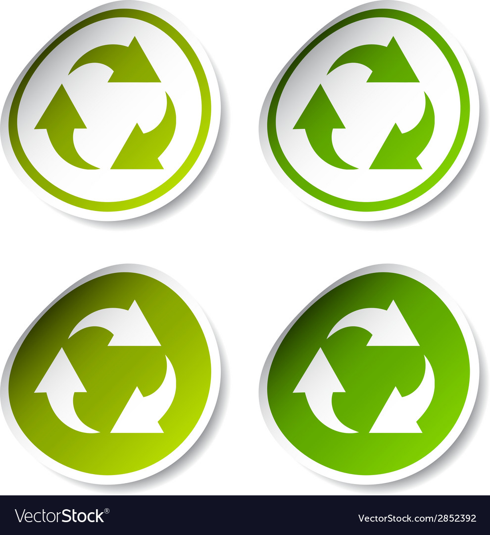 Recycle Stickers Royalty Free Vector Image Vectorstock