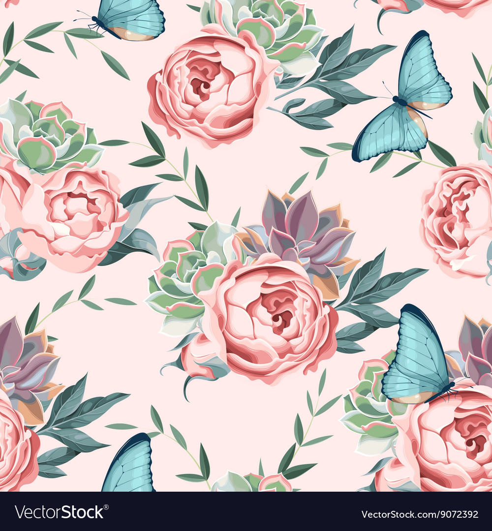 Roses and succulents seamless