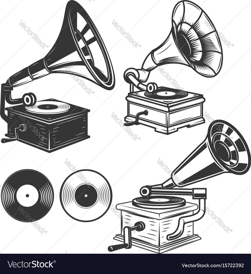 Set of gramophone on white background design vector image