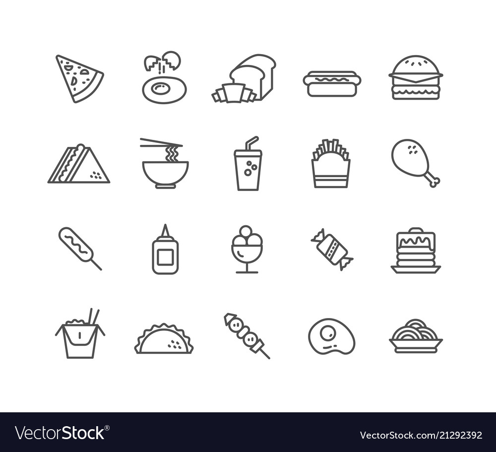 Simple set of fast food thin line icons
