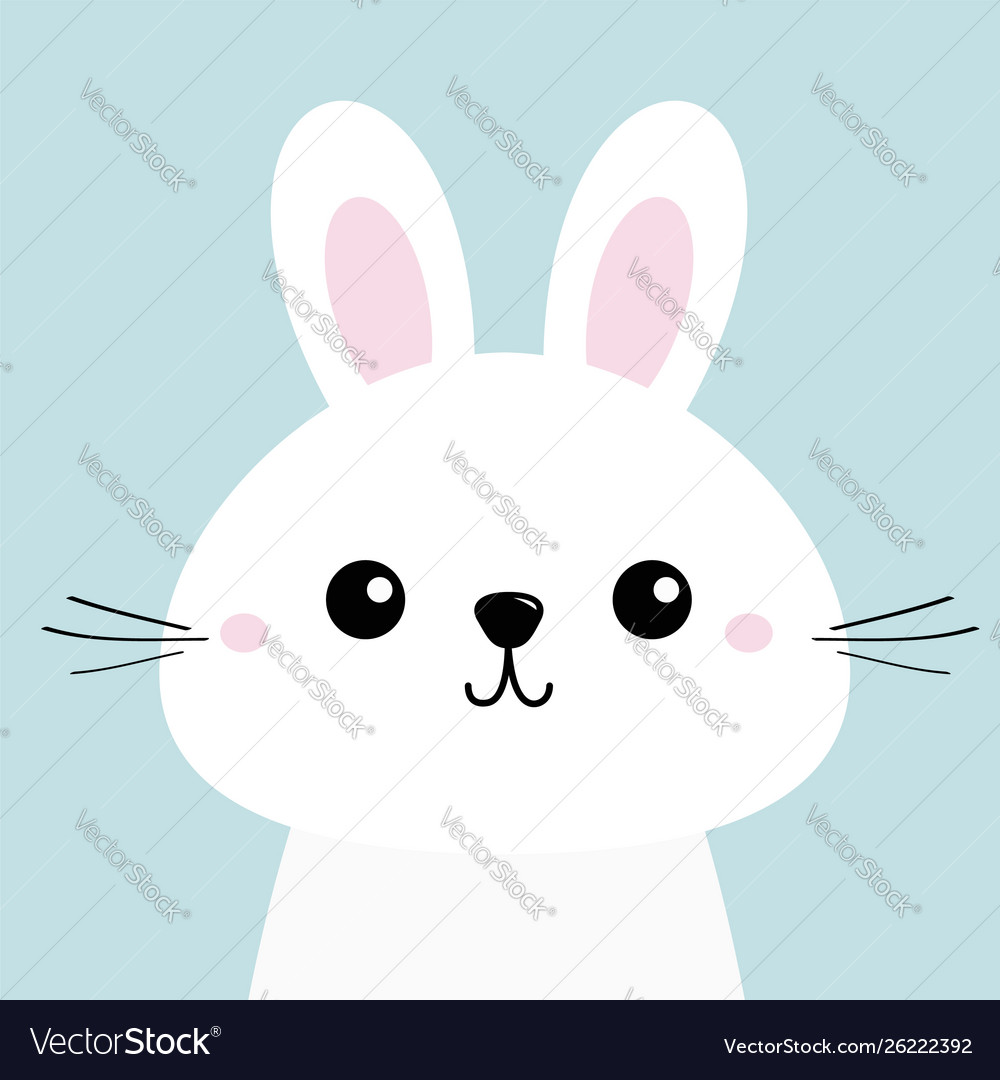 White bunny rabbit funny head baby face big ears