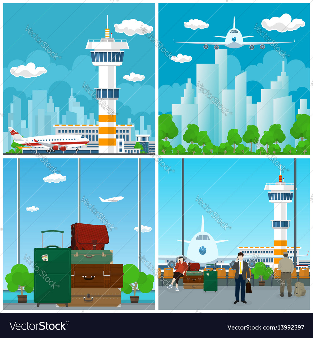 Arrivals at airport waiting room with people vector image