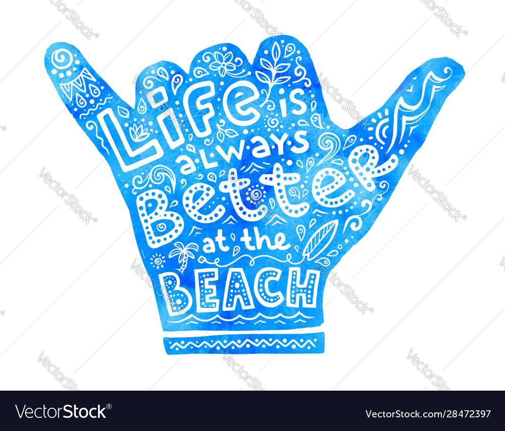 Blue watercolor shaka hand silhouette with white