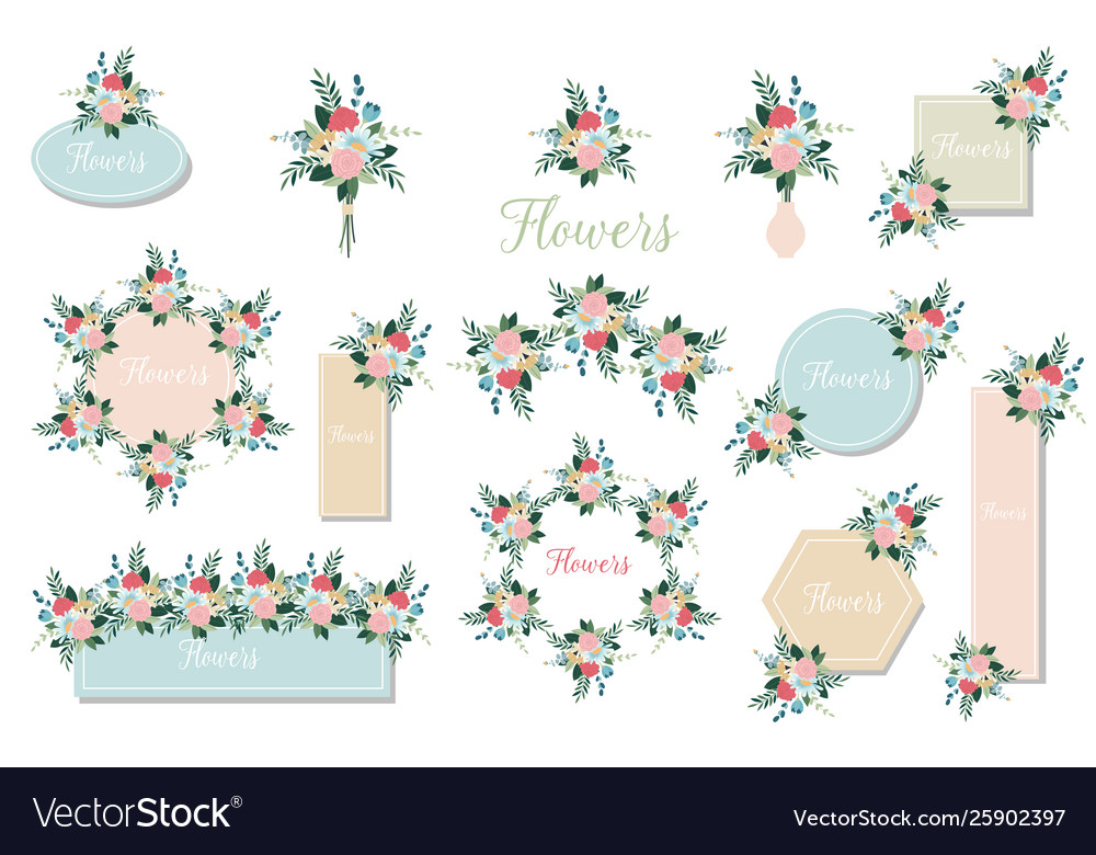 Botanic card with wild flowers leaves floral