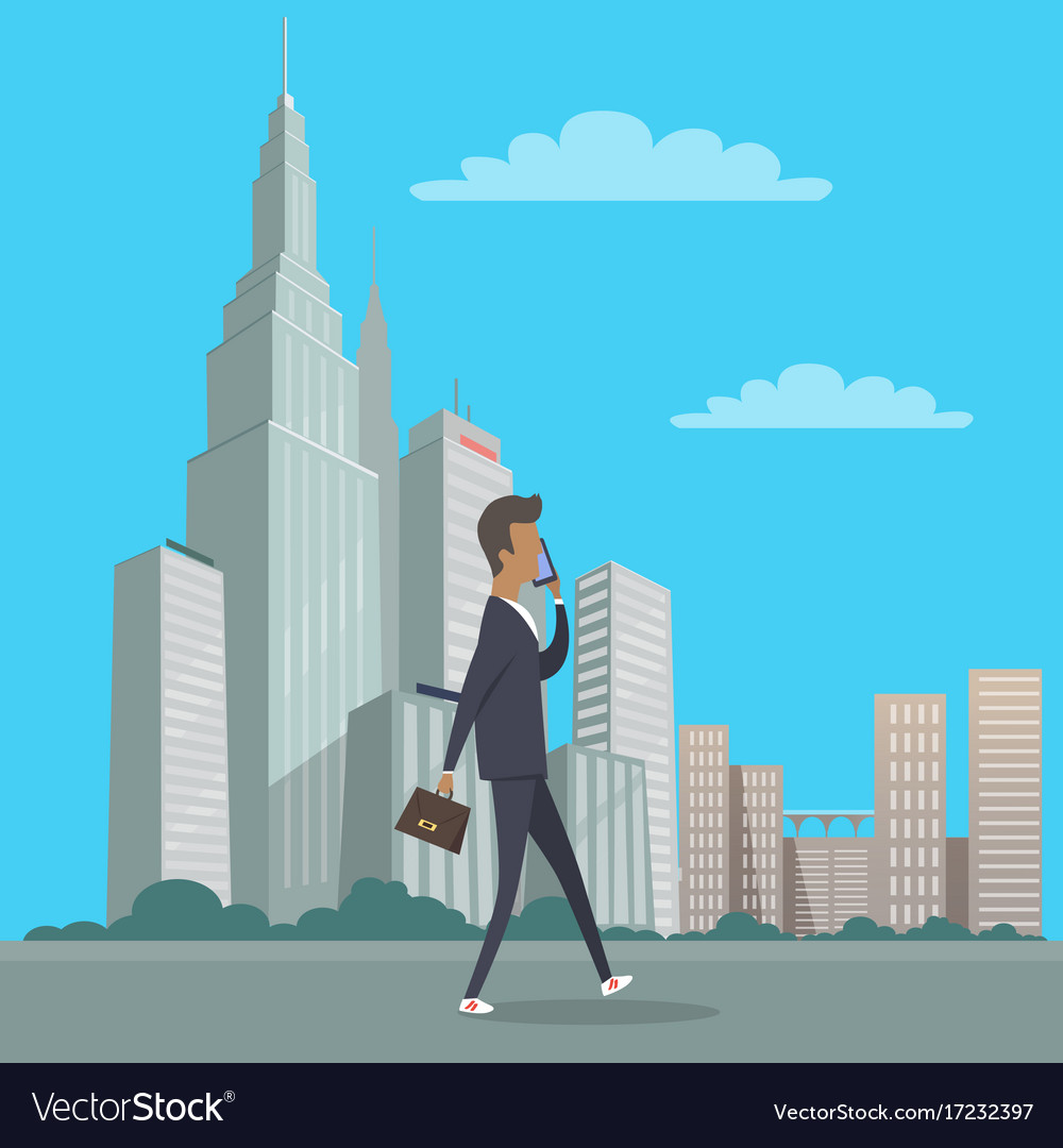 Businessman with bag in hand walking in city
