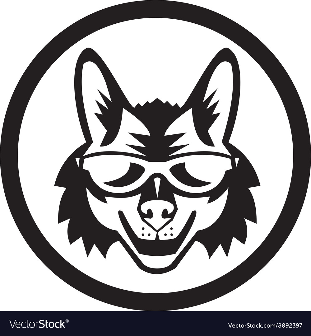 Coyote Sunglasses Circle Retro vector image