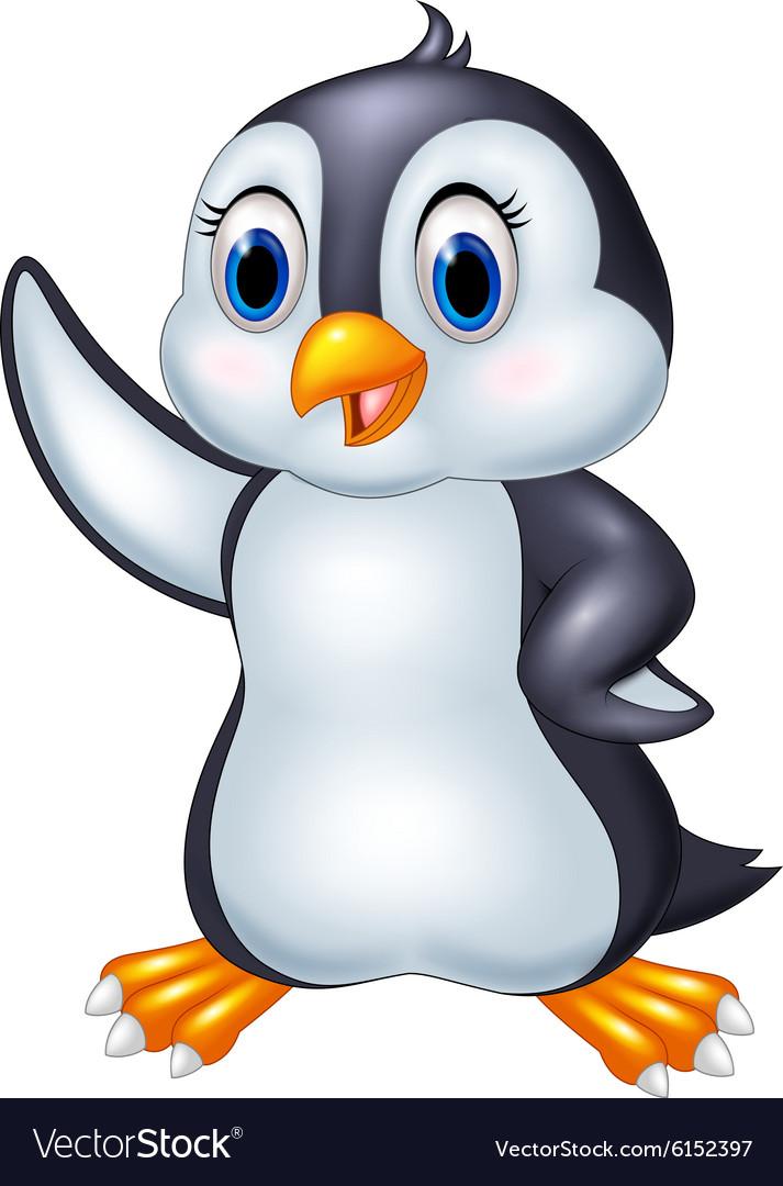 Cute cartoon animal penguin waving isolated on whi