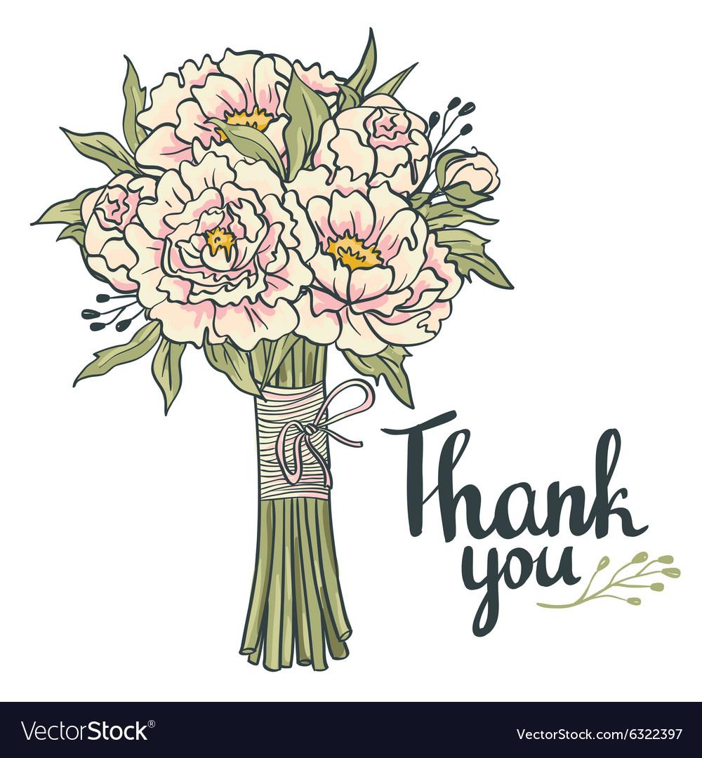Hand drawn garden floral Thank you card Hand drawn