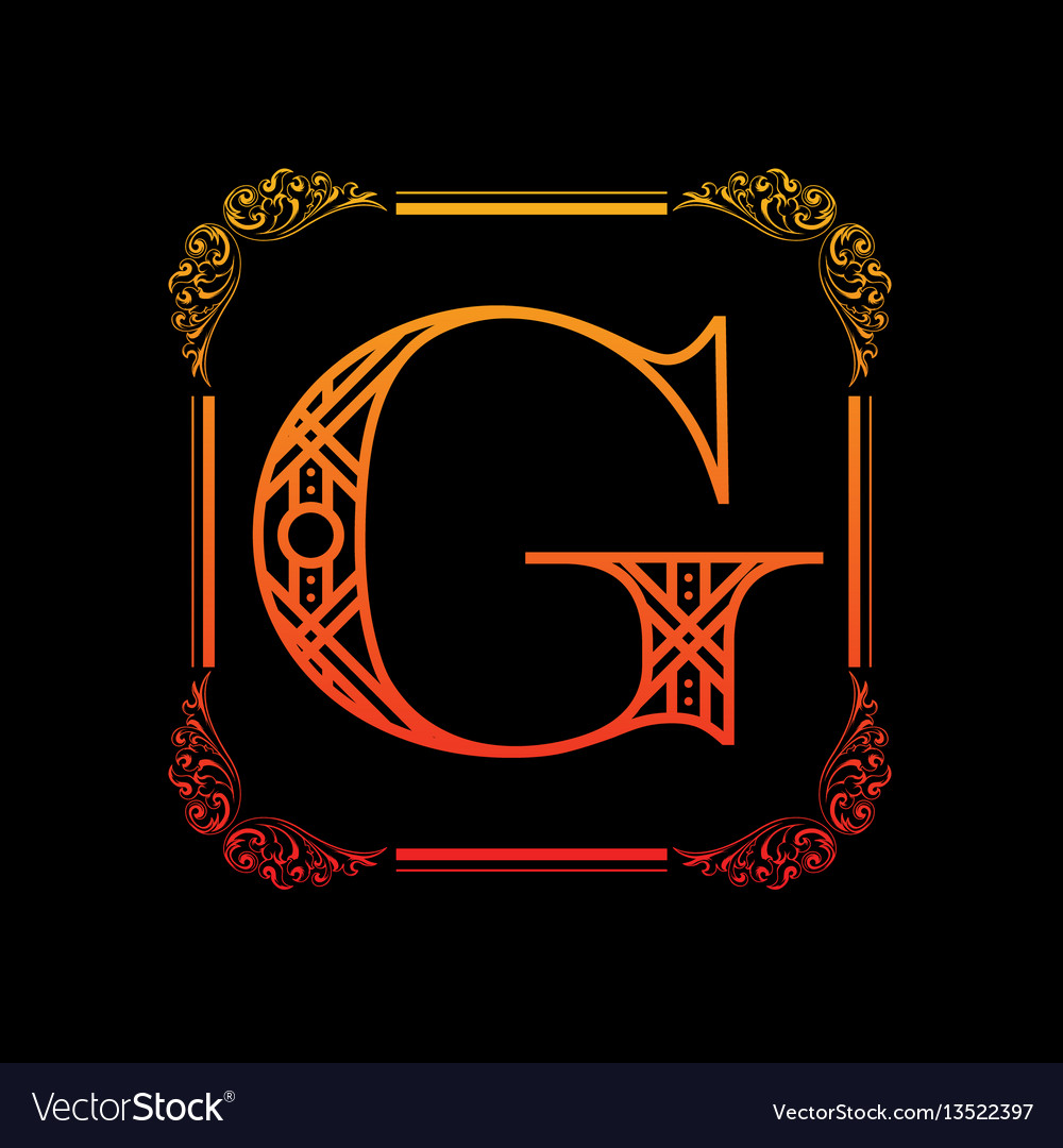 Letter g with ornament