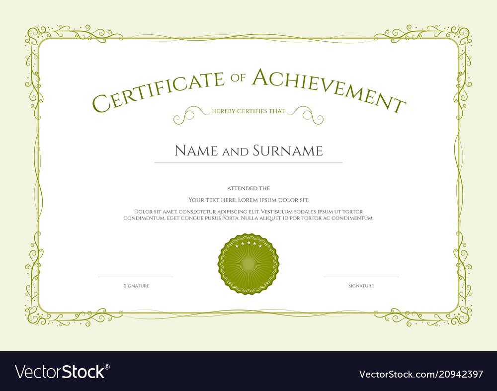 Luxury certificate template with elegant border