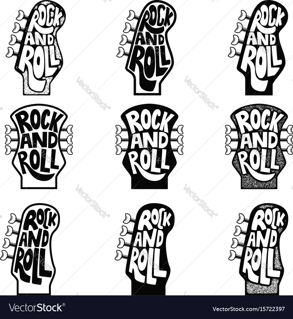 Rock And Roll Set Of Hand Drawn Phrase On Guitar