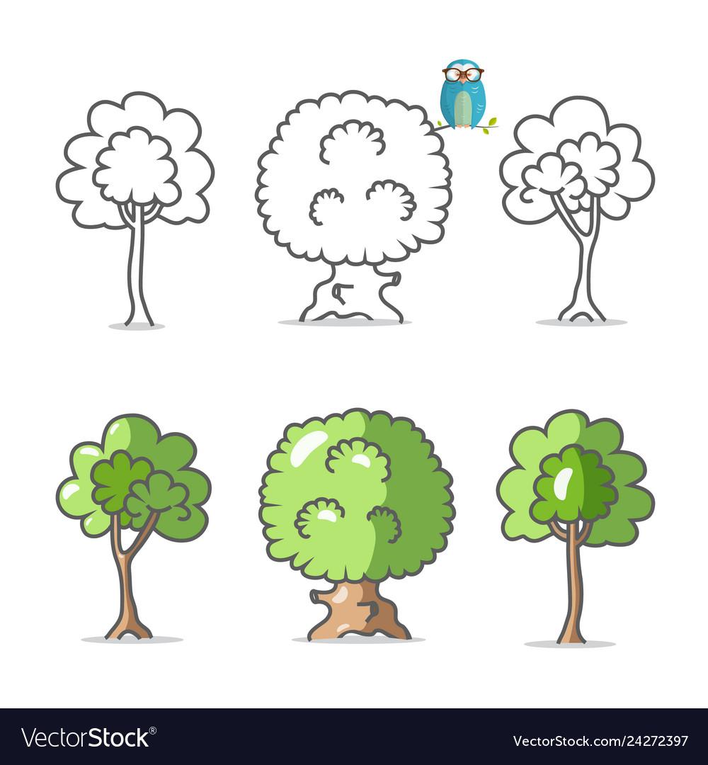 Tree icon trees symbols isolated on white