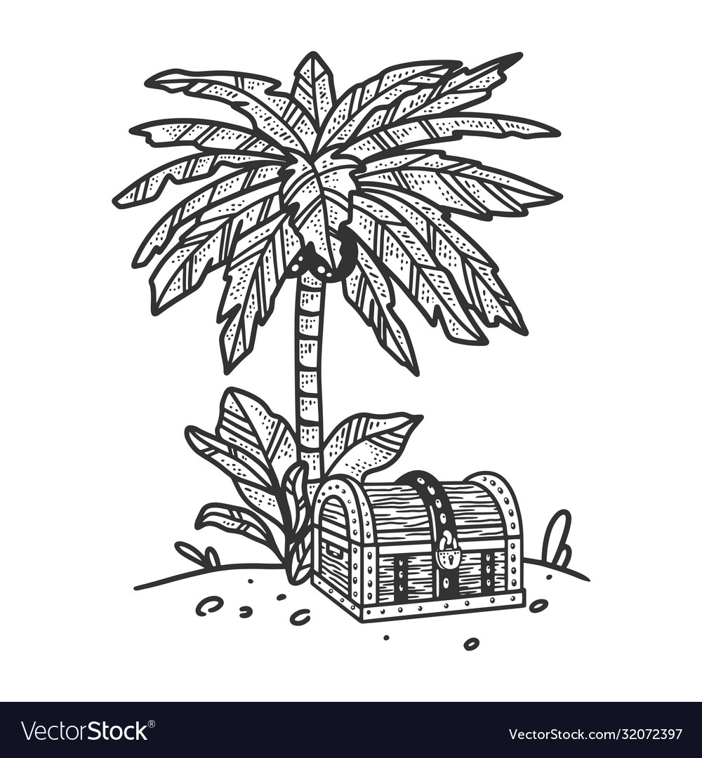 Uninhabited island palm tree treasure chest sketch