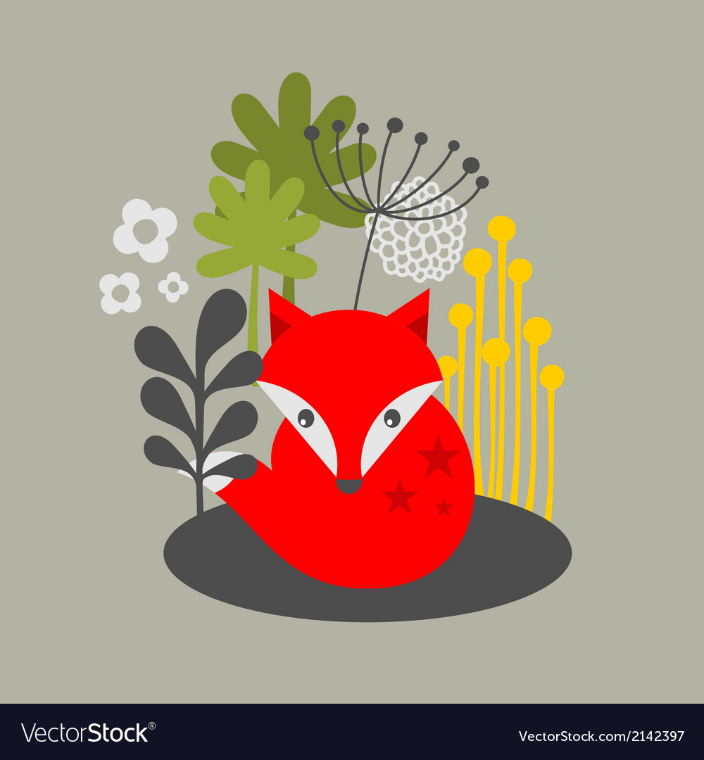 Vintage fox and flowers print vector image