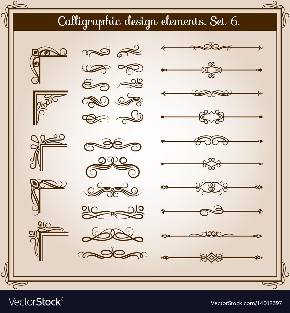 Vintage linear ornate decorative elements