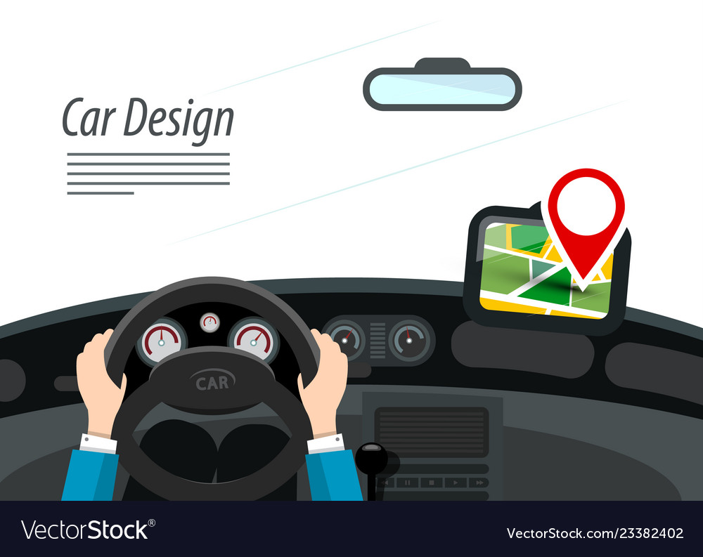 Car interior with hands on steering wheel and red