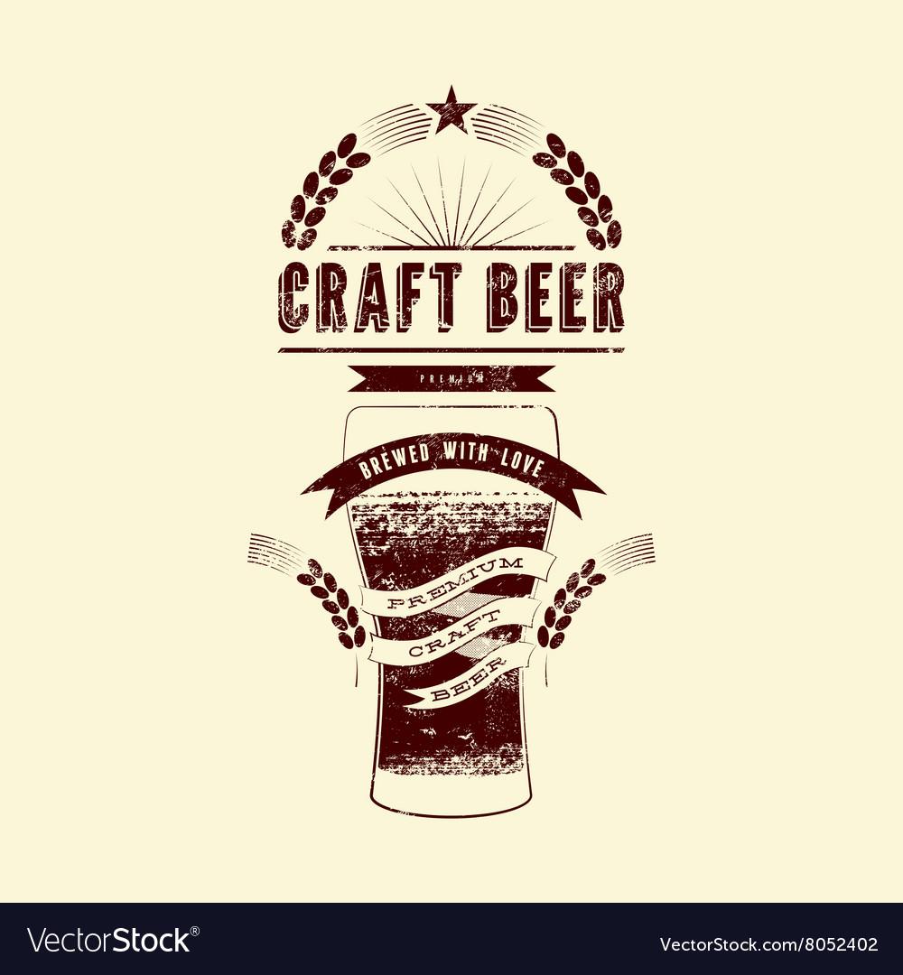 Craft Beer Label Vintage Grunge Poster Vector Image