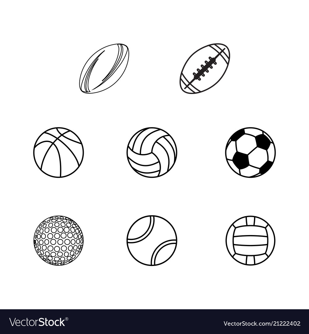 Different sport balls silhouettes