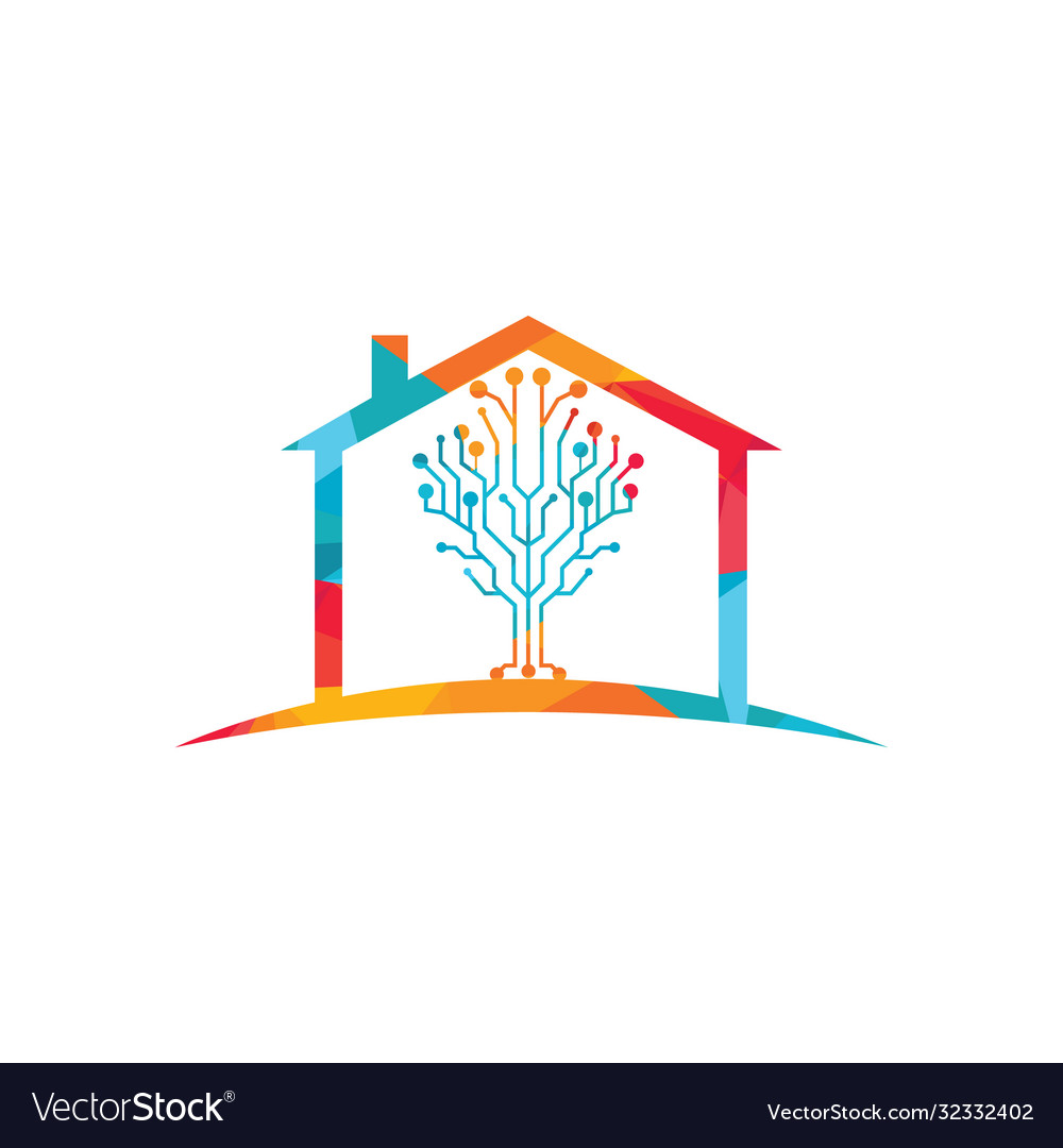 Digital home logo design Royalty Free Vector Image