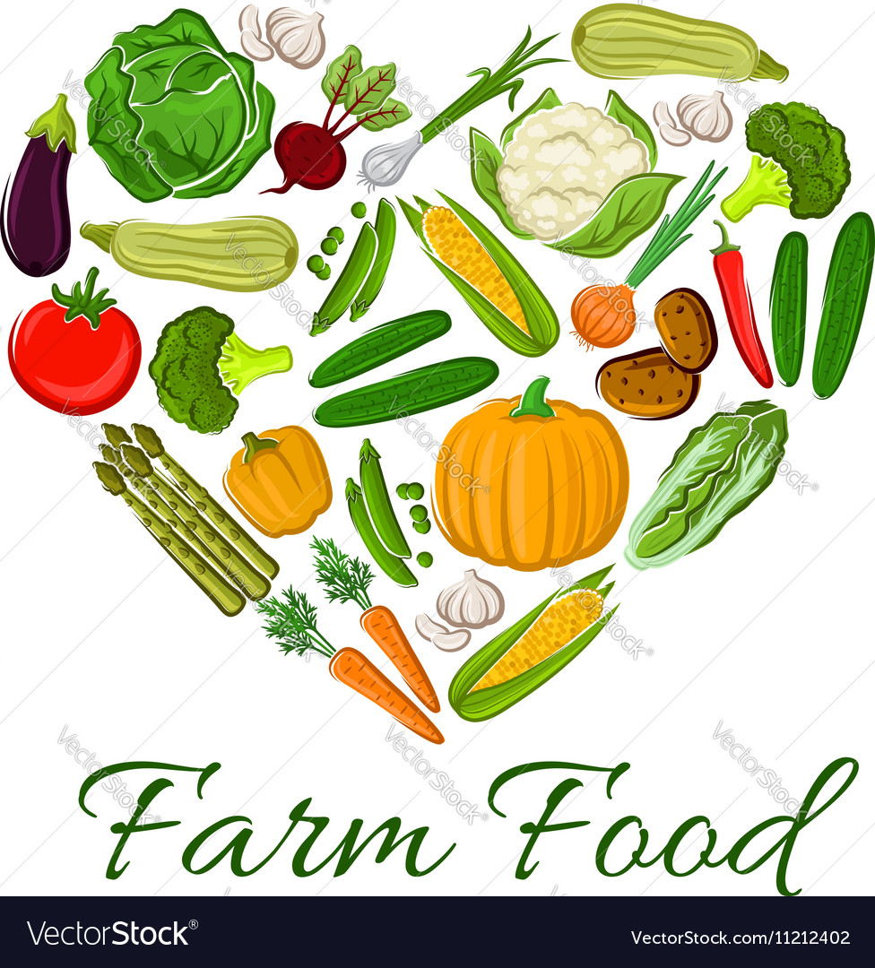 Farm Food vegetables icons in heart shape