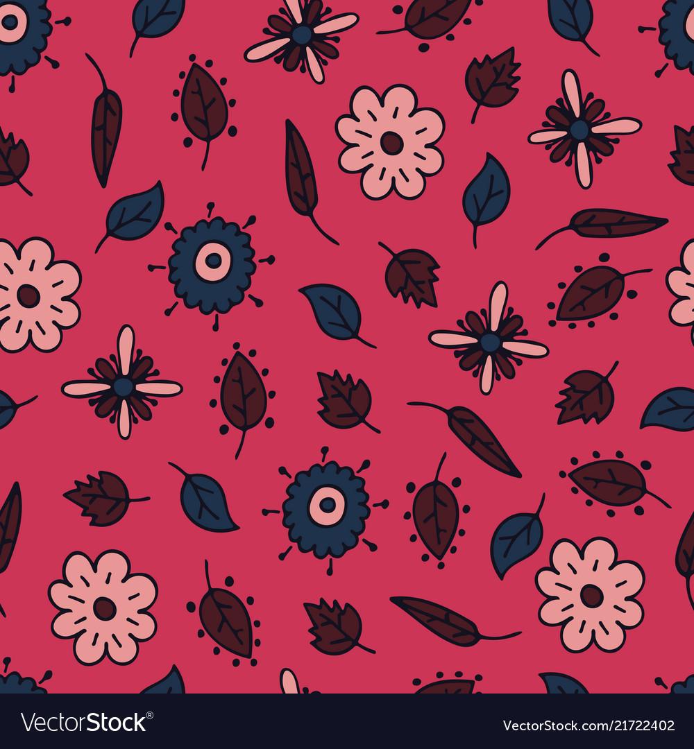 Flower hand-drawn seamless pattern