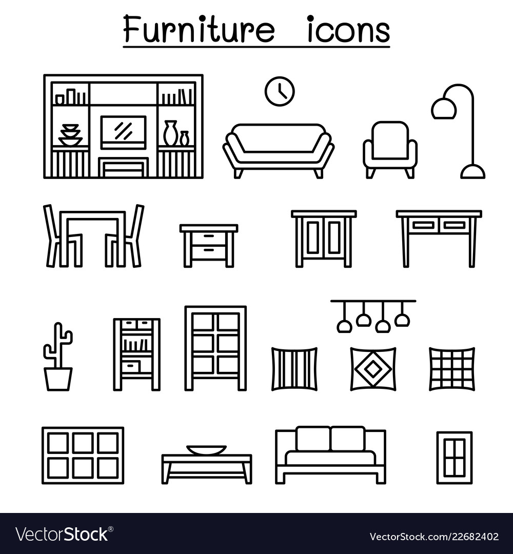Furniture home decorate items icon set in thin