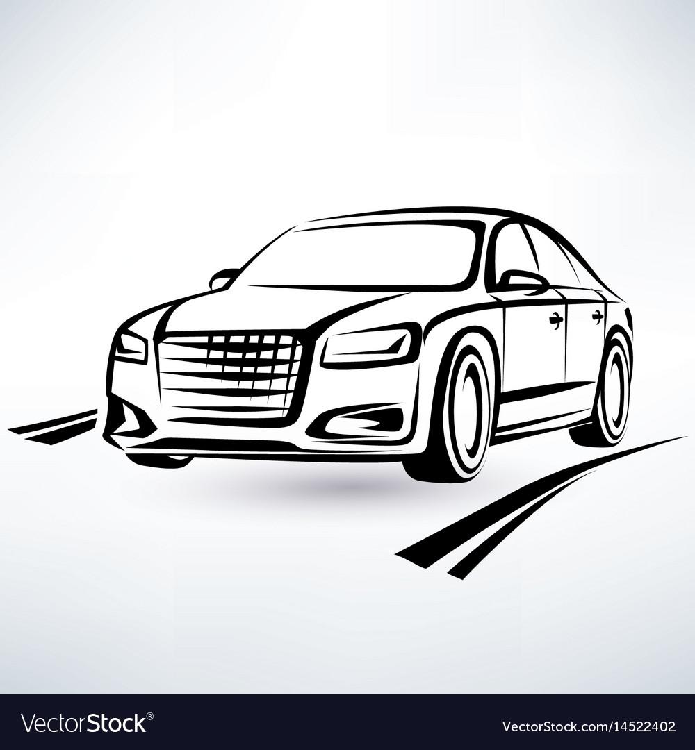 Modern luxury car symbol outlined sketch