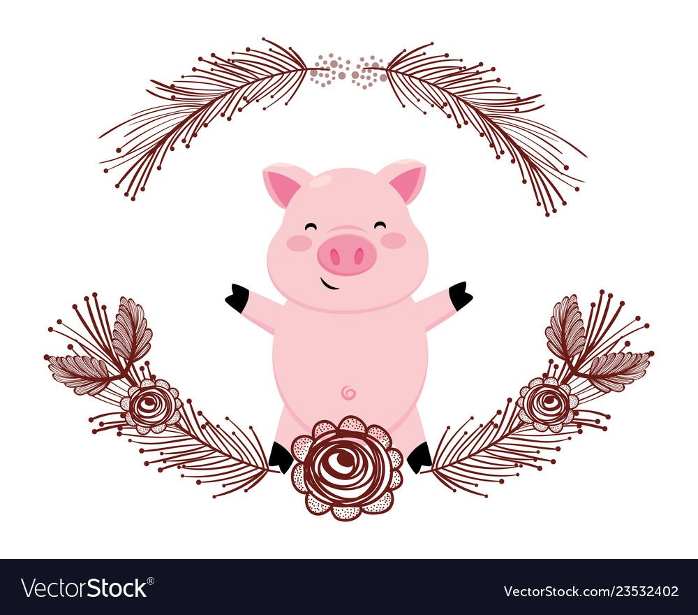 Pig with flower arrangement