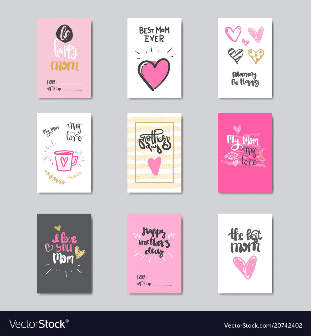 Cool Set Of Greeting Cards For Happy Mother Day Holiday Funny Birthday Cards Online Fluifree Goldxyz