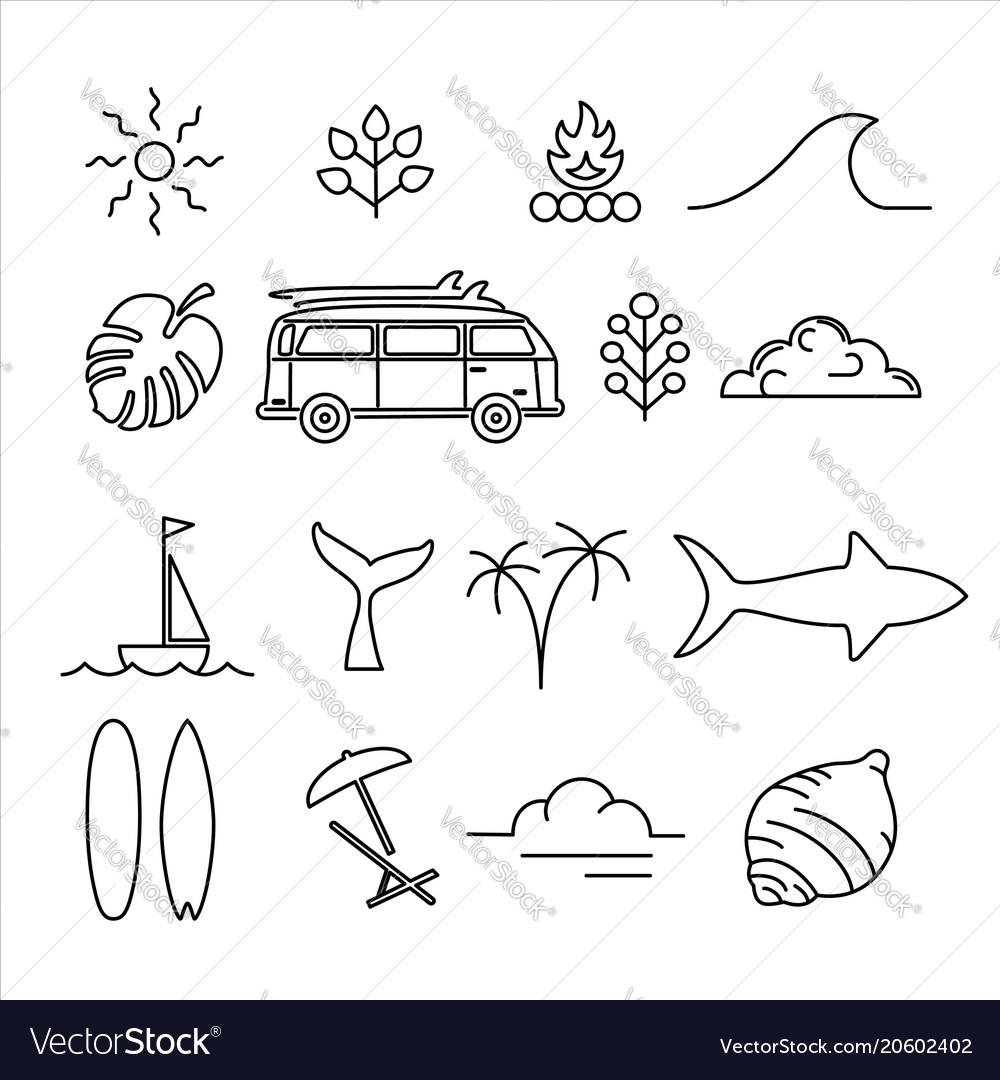 Summer holiday adventure line art icon set vector image