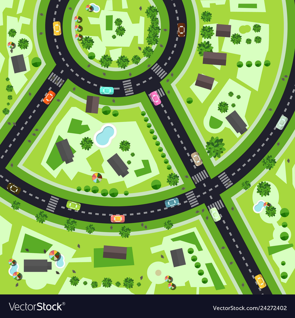 Top view city map with streets and buildings