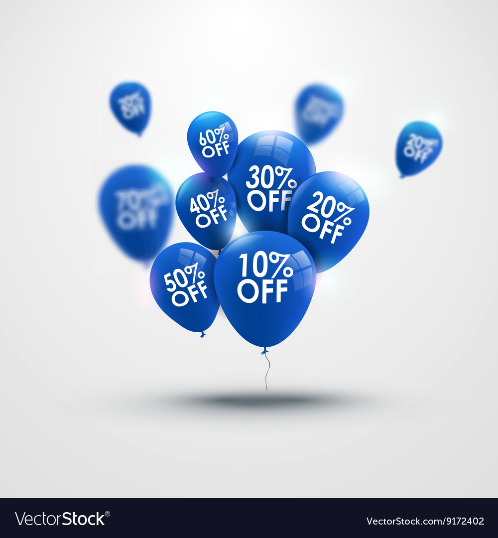 Trendy beautiful background with blue baloons and