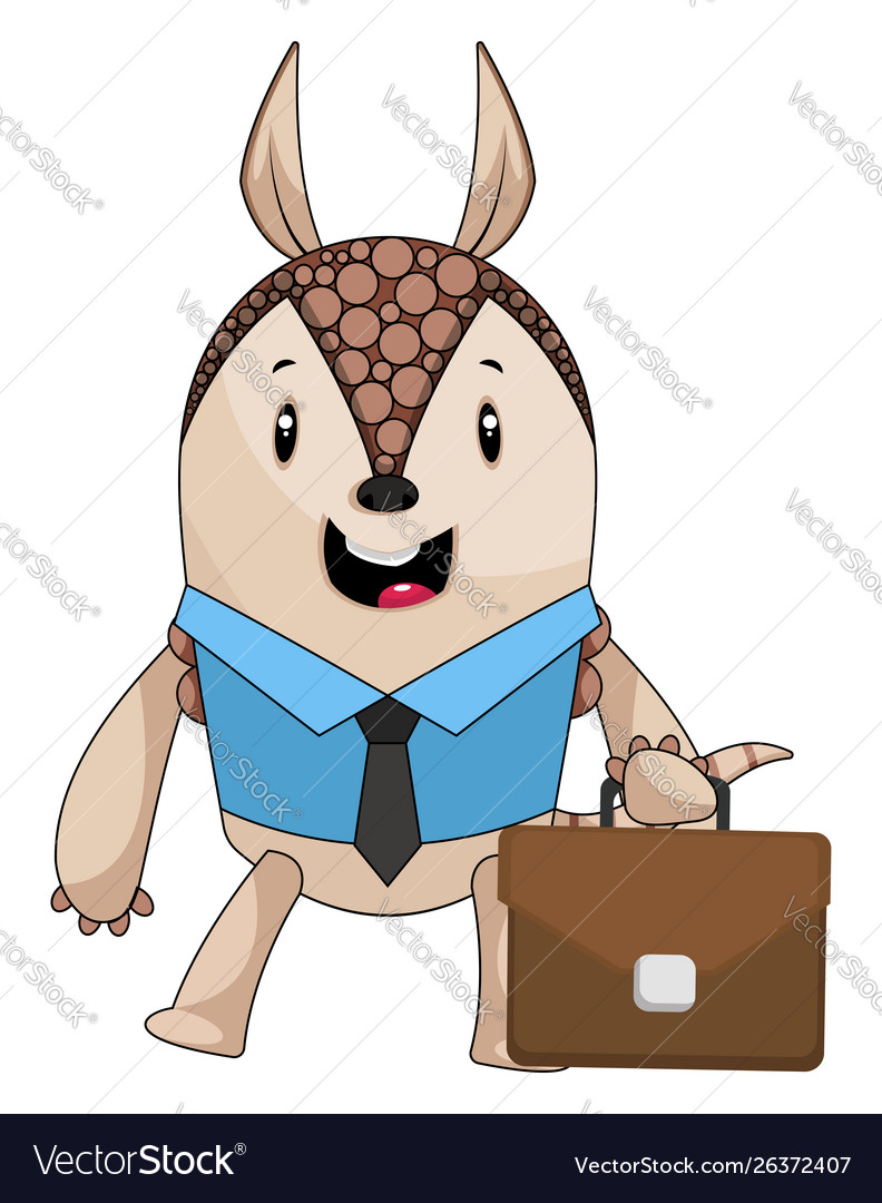 Armadillo with suit case on white background