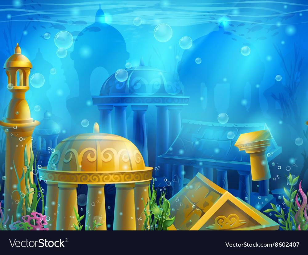 Atlantis Seamless submerged underwater city the