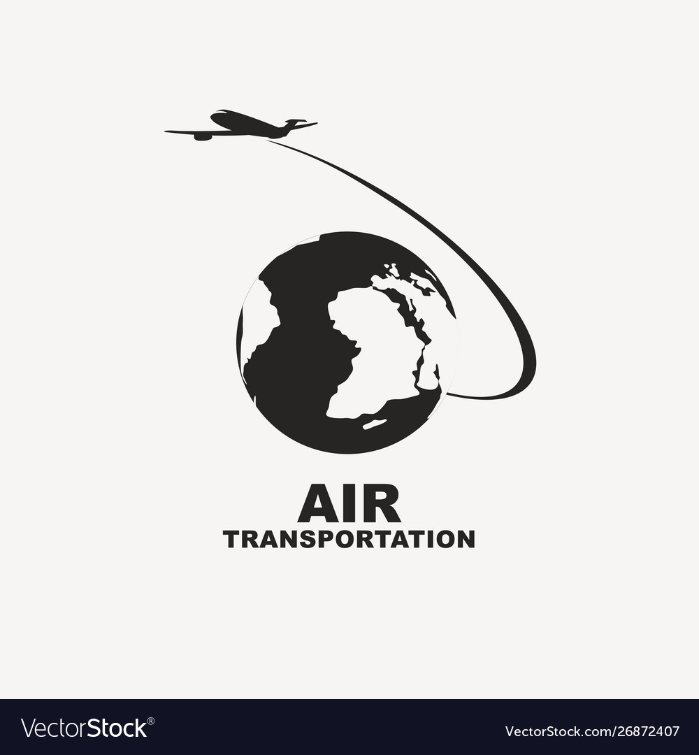 Banner for air transportation with planet earth