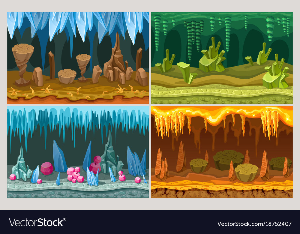 Cartoon game cave landscapes set vector image