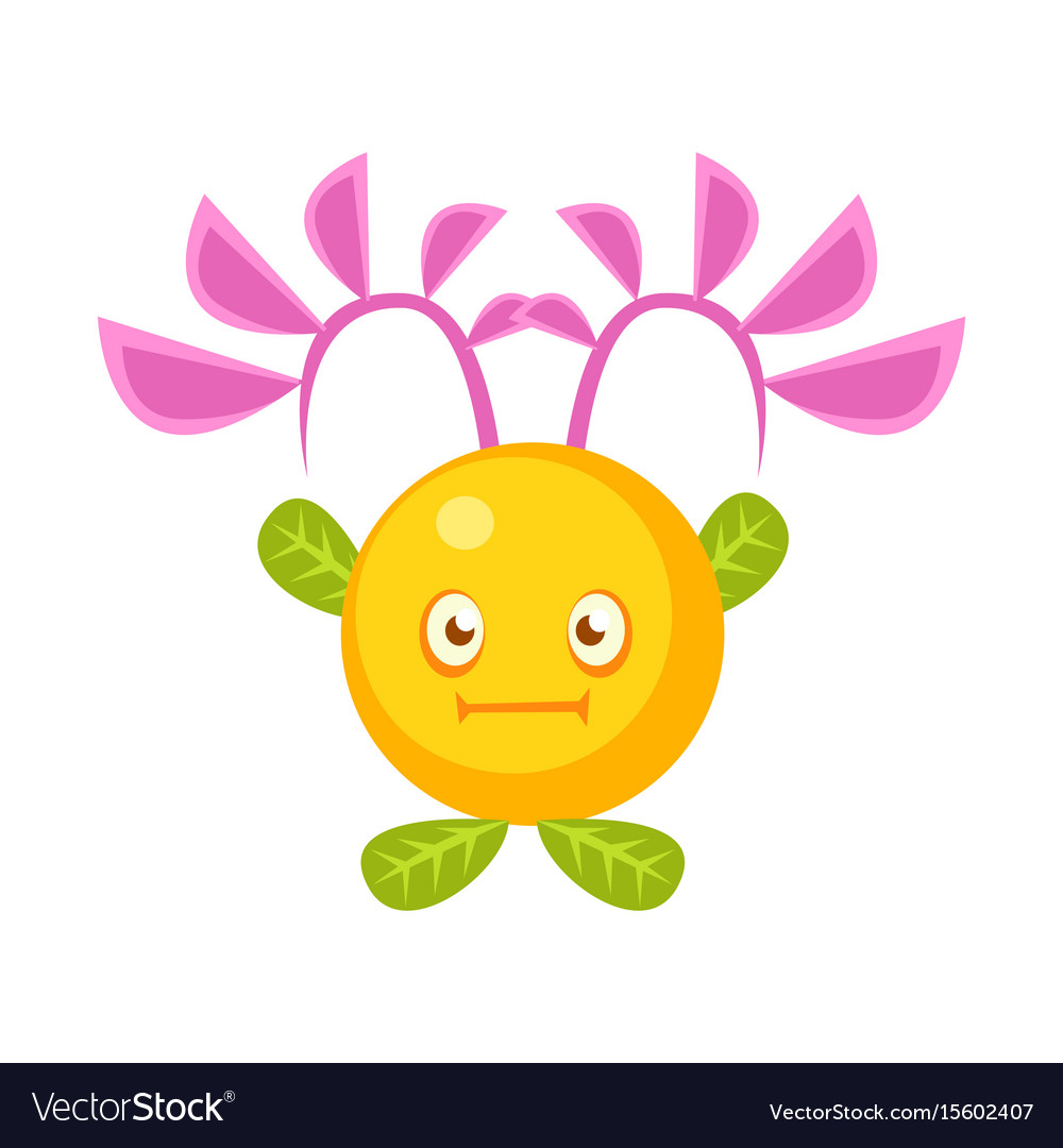 Cute fantastic yellow plant character round shape