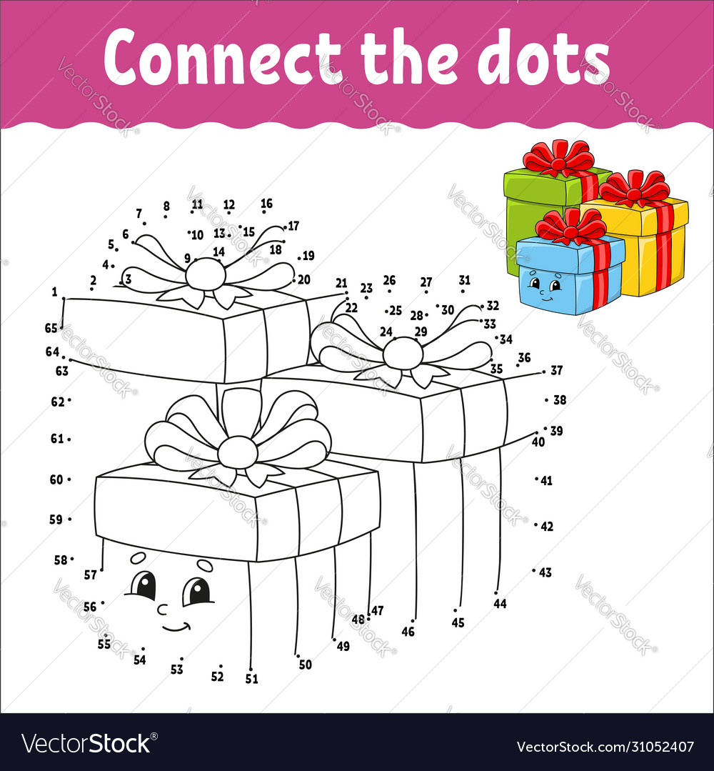 Dot To Dot Game Draw A Line Holiday Boxes Vector Image