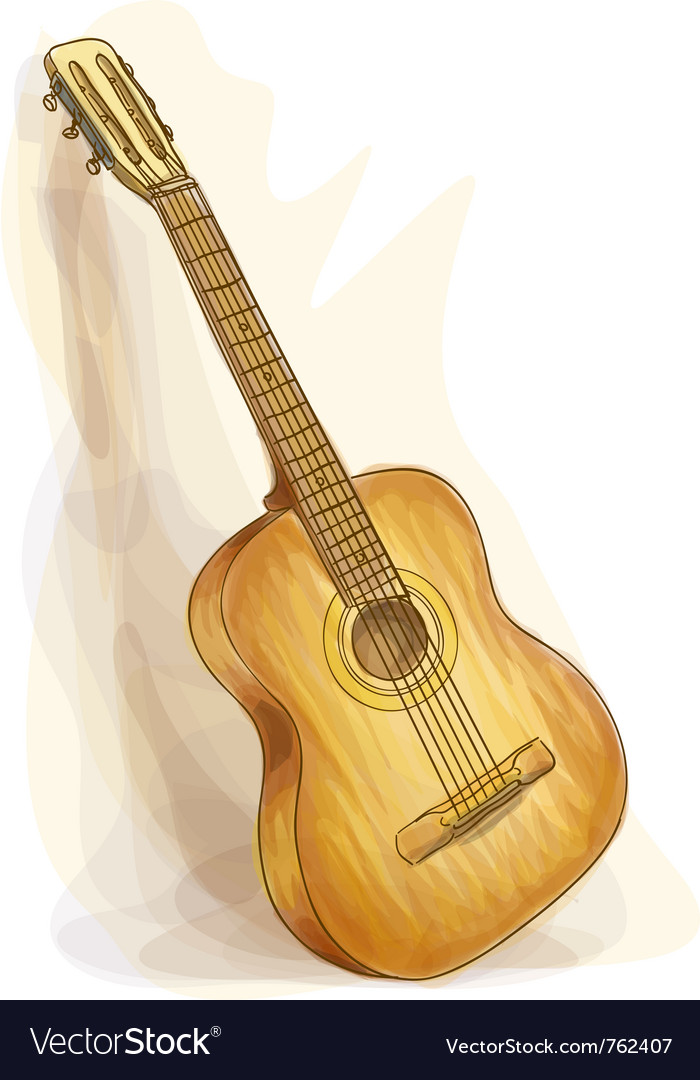 Guitar watercolor style vector image
