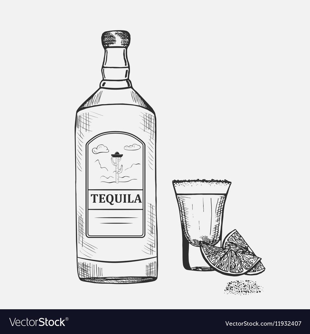 Hand drawn composition with tequila
