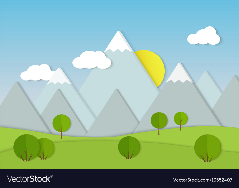 Mountains cardboard paper landscape green trees