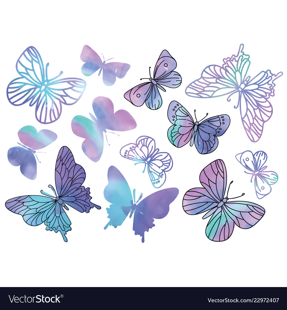 Purple Butterflies Cartoon Clipart Color Vector Image