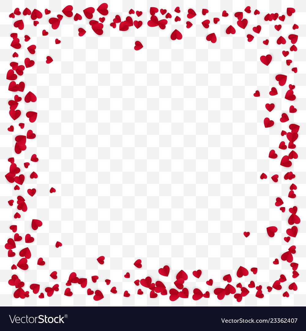 Red paper heart frame background valentines day