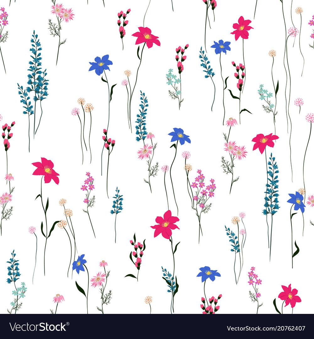 Seamless texture retro wild flower pattern vector image