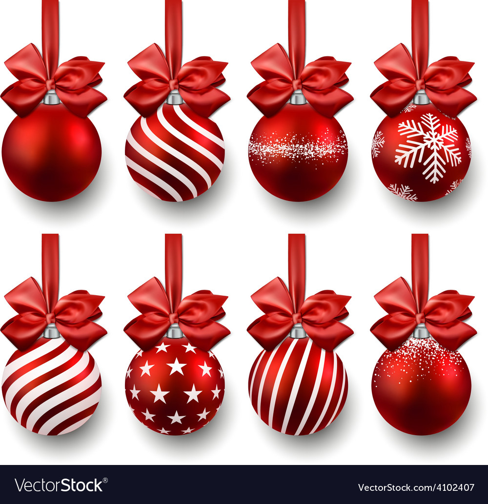 set of realistic red christmas balls vector image - Red Christmas Balls