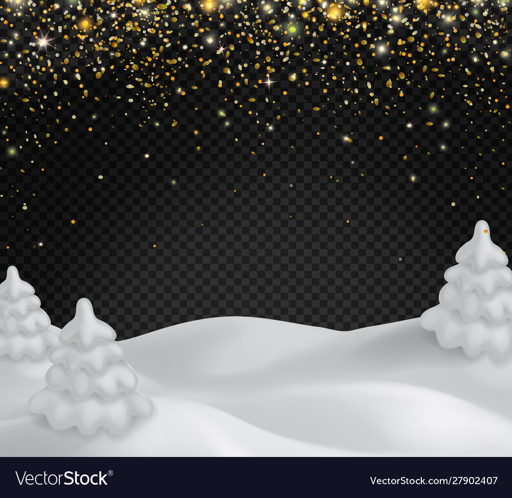 Snowy landscapewith golden glittering snowflakes