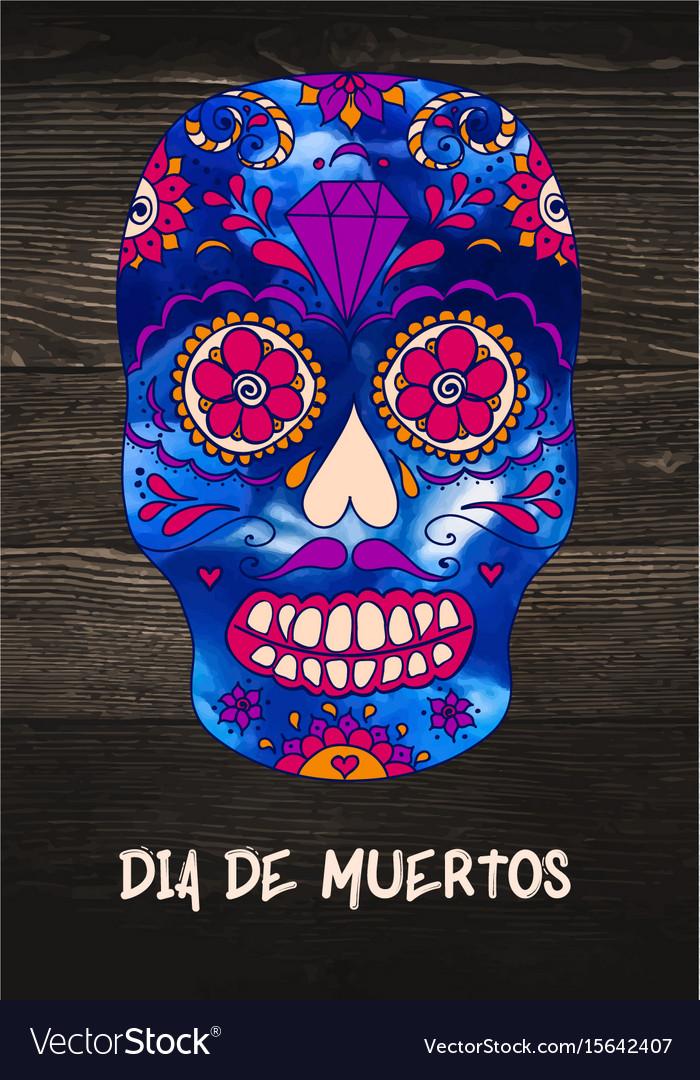 Sugar skull mexican skull on wooden