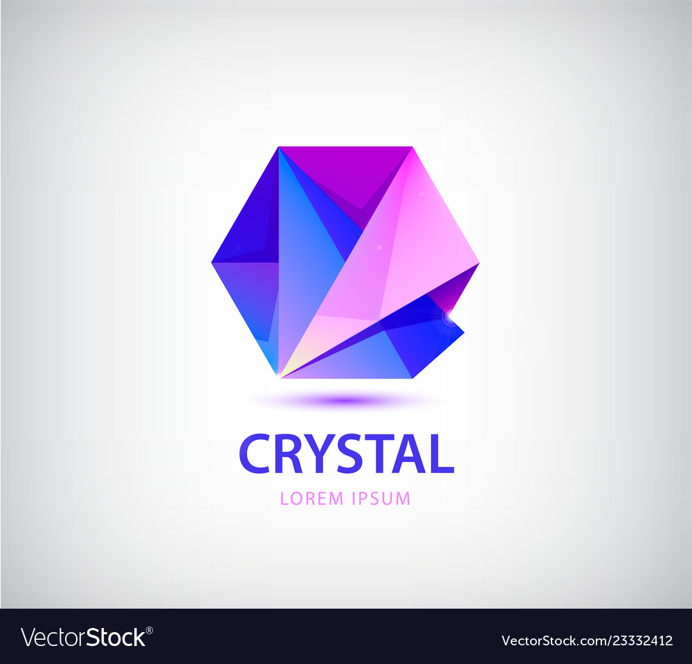 Abstract crystal origami logo facet 3d