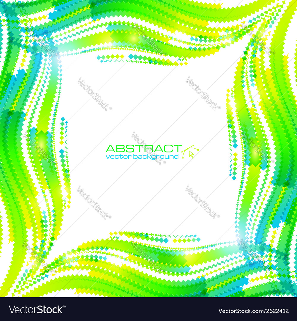 Abstract green wave ripples frame vector image
